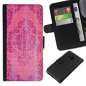 EJOY---La carpeta del tirón la caja de cuero de alta calidad de la PU Caso protector / HTC One M7 / --Rústico Desgastado Alfombra india Rosa Púrpura