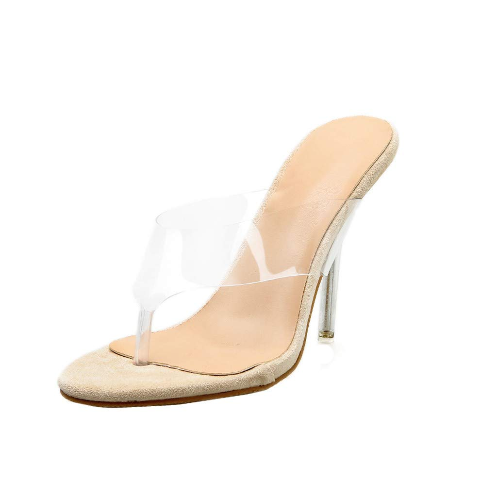 Hot Women Sexy High Sandals Fashion Thin Heels Shoes Party Wedding Pointed Transparent Slipper Sandals (Khaki, 8) by Huaze
