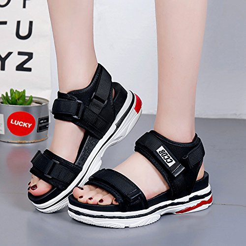 Toe Las Velcro De Sandalias Piso Sandalias Zapatos Grueso Mujeres De Ocio Mujer Fondo De Sandalias Rocío Verano Negro GAOLIM De 6TdAqyA