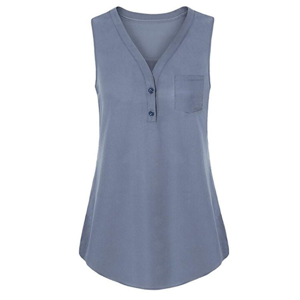 JFLYOU Women Plus Size Button Down Summer Loose V Neck Cami Tank Solid Tops Vest Blouse(Gray,XL)