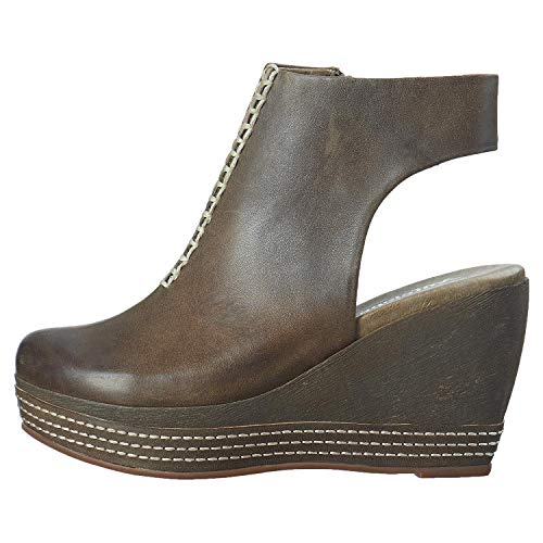 Khaki 826 Leather Women's Bib Wedge Front Antelope YwBE5