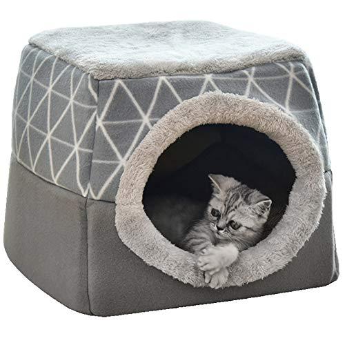 NIBESSER Katzenhöhle Katzen Haus Katzenbett Haustier Pet Nest Schlafsack 2 in 1 Faltbar Kuschelhöhle