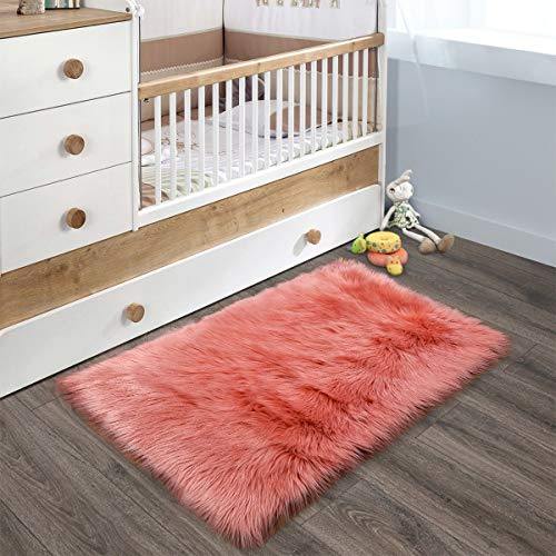 YOH Super Soft Area Rugs Silky Smooth Bedroom Mats for Living Room Kids Room Multicolor Optional Home Decor Carpets (2 x 3 Feet Rectangle, Coral) (Coral Rug Orange)