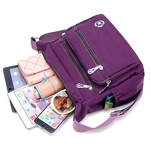 Crossbody Bags Women Purple Messenger Shoulder Waterproof for Nylon Handbags Casual Bags BR1xq1Fw