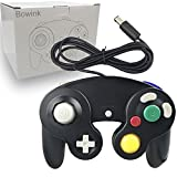 Bowink 1 Pack Classic Wired Gamepad Controllers for Wii Game Cube Gamecube Console(Black1)