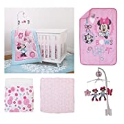 5 pieces Disney Minnie Mouse Crib Bedding Musical Mobile and Plush Blanket Set