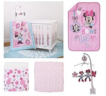 Amazoncom 5 Pieces Disney Minnie Mouse Crib Bedding Musical