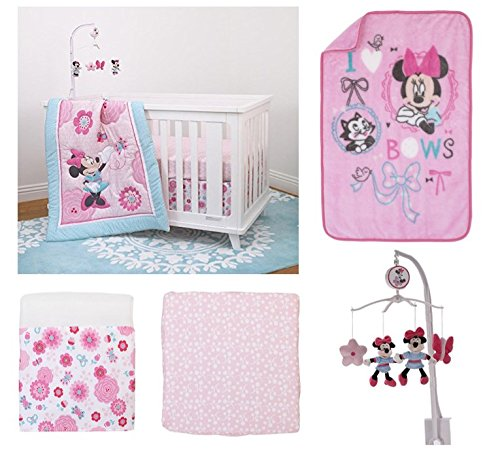 Mobile Disney Musical (5 Pieces Disney Minnie Mouse Crib Bedding Musical Mobile and Plush Blanket Set)
