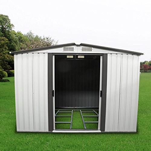 Sliverylake 8FT By 6FT Outdoor Steel Garden Storage Shed Backyard Lawn Building Garage Vent with Floor frame