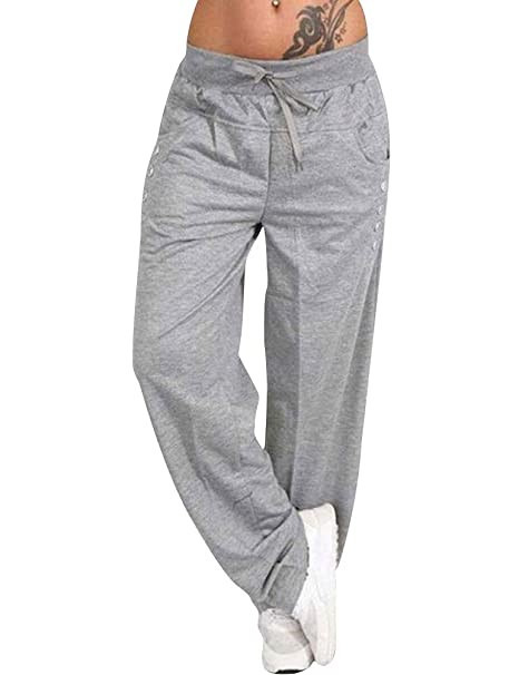 YUHX Pantalón Ancho para Mujer Pantalones de Color Liso Uso ...