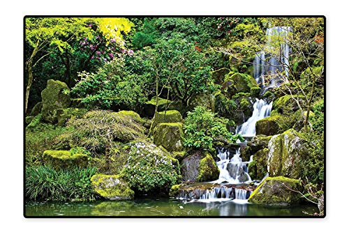 (Indoor/Outdoor Rug Pond in Asian Style Garden Arboretum Trees Bush Foliage Rocks Waterscape Green Easy Clean Resistant 6'x8')