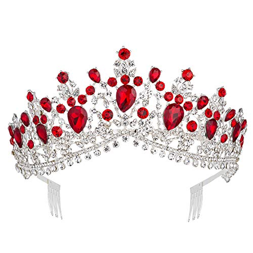 Royal Rhinestone Crystal Queen Tiara Headband Wedding Pageant Birthday Party Crowns Princess Headpieces for Women Girls (Silver Red)]()