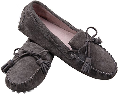ELANROMAN Women Suede Classic Loafer Boat Shoes Fashion Slippers Velvet Loafers Shoes Gray U3vGk5
