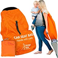 KangoKids Car Seat Travel Bag - Waterproof Carseat, Booster, Backpack Cover - Easy Carry Gate Check Bag for Airport - Extra Large, Durable Carrier with Handle and Adjustable, Padded Straps