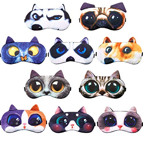 10 Pieces Cute Animal Sleep Mask Eye Mask for Sleeping Cat Dog Mask Soft Blindfold Eye Cover with Adjustable Strap for Men Women