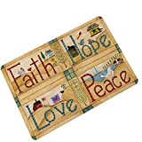 Indoor/Outdoor Faith Hope Love Peace Patterned Easy Clean Rubber Non Slip Backing Doormat Entrance Rug for Home Front Entry, Garage Outside,Patio Inside Floor Welcome Mat,35.4'' W x 23.6'' H