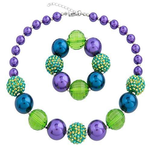 (Sweet Princess Christmas Jewelry Purple Beads Chunky Bubblegum Necklace and Bracelet for Kids Girls)