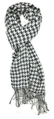 Classic Luxurious Soft Cashmere Feel Unisex Winter Scarf in Checks and Plaid (Houndstooth Black-White) ()