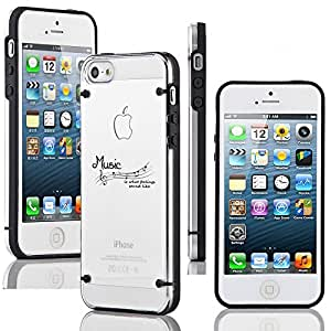 Apple iPhone 4 4s Ultra Thin Transparent Clear Hard TPU Case Cover Music Feelings Sound Like (Black)