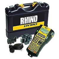 """DYMO Rhino 5200 Juego de estuche Cary para el fabricante de etiquetas industriales con 2 rollos de etiquetas de vinilo, 3/4 """"y 3/8"""", negro sobre blanco (1756589)"""