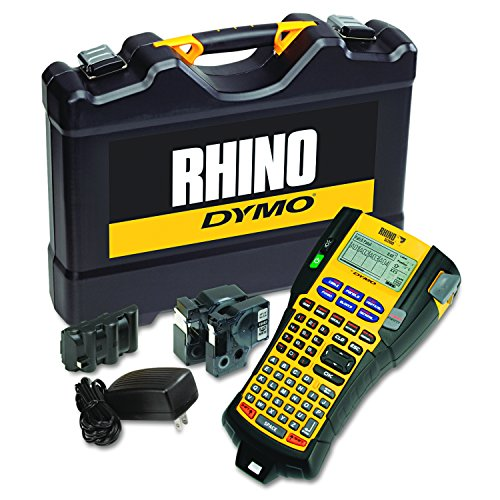 DYMO Rhino 5200 Industrial Label Maker Cary Case Kit with 2 Rolls of Vinyl Labels, 3/4' & 3/8', Black on White (1756589)