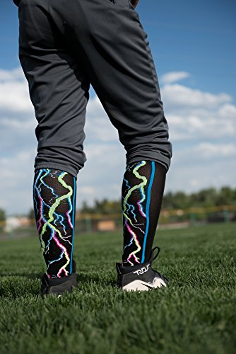 MadSportsStuff Crazy Socks Lightning Bolts Electric Storm Over the Calf (Multi-Neon/Black, Small) by MadSportsStuff (Image #4)