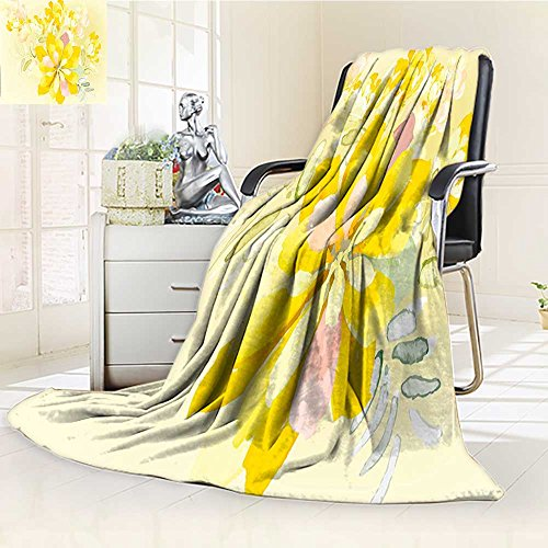 AmaPark Throw Blanket Romantic White Yellow Leaves Orchids with Backdrop Velvet Plush Throw Blanket