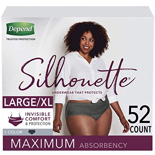 Depend Silhouette Incontinence Underwear for Women, Maximum Absorbency, Disposable, Large/Extra-Large, Black, 52 Count (Packaging May Vary)