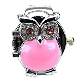 Women's Fashion Lovely Owl Crystals Quartz Finger Ring Watch with Gift Box (Pink)