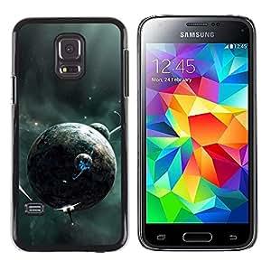 QCASE / Samsung Galaxy S5 Mini, SM-G800, NOT S5 REGULAR! / planetas alienígenas futuras naves espaciales galaxia universo / Delgado Negro Plástico caso cubierta Shell Armor Funda Case Cover