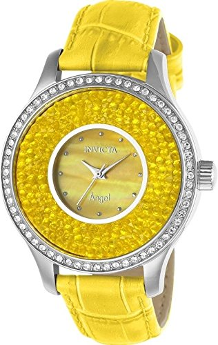 Invicta Women's 'Angel' Quartz Stainless Steel and Leather Casual Watch, Color:Yellow (Model: 24587) -  886678297702