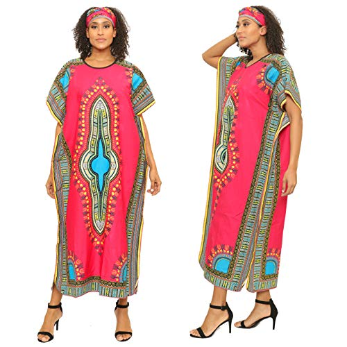 Dashiki Print Kaftan Dress African Print Dashiki Kaftan with Head Scarf (One Size, Fuchsia) (Dress Scarf Collection)