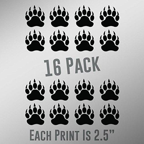 - CMI ND026 Bear Paw Prints 16-Pack | 2.5-Inches | Premium Quality Black Vinyl