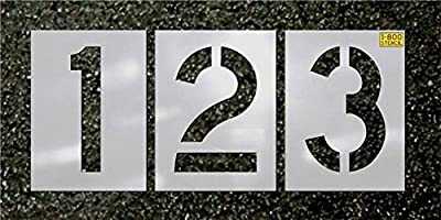 """Number Stencil Kit, 12"""" tall letters, made by 1-800-Stencil - 1/16"""" Reuseable Plastic material"""