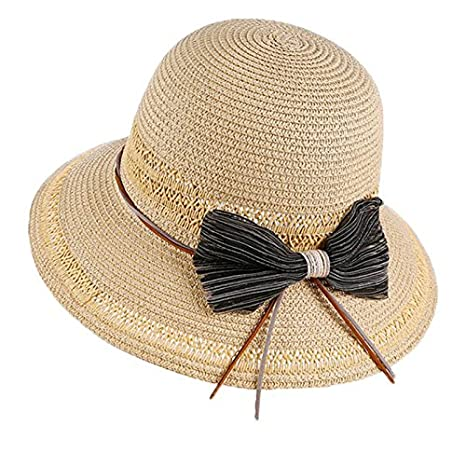 41dc89c2f4b ALWLj Ladies Wide Brim Straw Hats Summer Women Sun Hat Seaside Beach Bow  Basin Cap Foldable