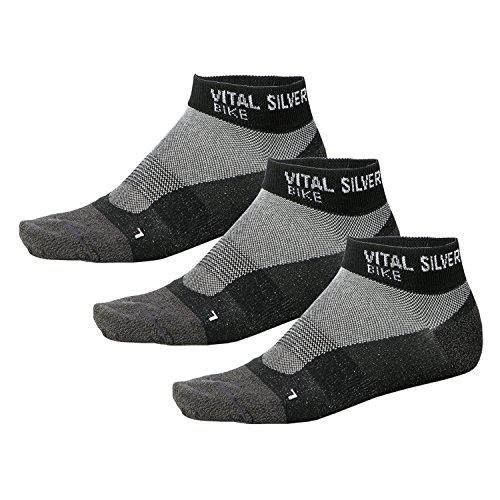 仕事に行く認知ラッドヤードキップリング(VITAL SALVEO)バイタルサルウェー- 3足組 薄い競技用靴下、竹炭、スポーツ、バイク、黒
