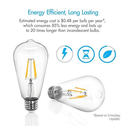 Tenergy Dimmable Edison Bulbs 4W LED Filament Bulbs (40 Watt Equivalent), Soft White (2700K), ST64 Bulbs, E26 Medium Standard Base Decorative Light Bulbs for Ceiling Light Fixtures (Pack of 6) by Tenergy (Image #4)