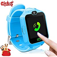 Smart Watch for kids, Phone Smart Watches for Boys Silicone Watch Touch Screen Version Wrist Android Mobile Camera Cell Phone Best Gift for Girls Children Boy blue pink
