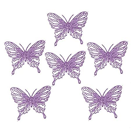 luxury christmas tree decorations glitter butterflies x 6 purple