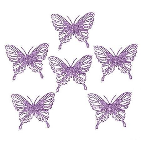 Luxury Christmas Tree Decorations Glitter Butterflies X 6 Purple