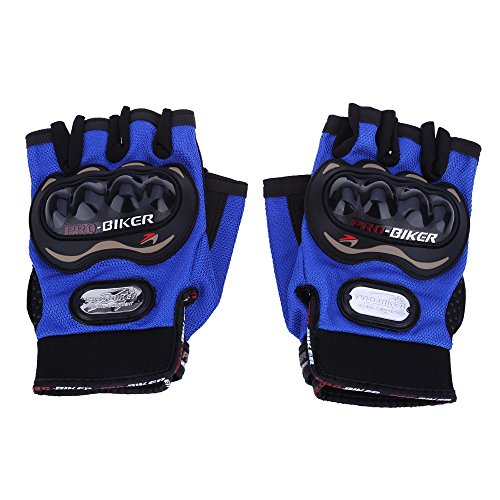 Icon Motorcycle Gloves Icon - AutoLover� Paired Half-finger Motorcycle Gloves Motorbike Outdoor Sports Riding Breathable Protective Gears(BLUE-XXL)