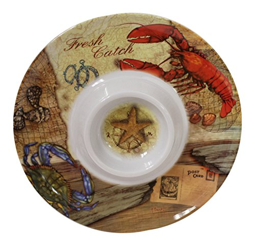 Merritt International Coastal Fresh Catch Blue Crab Clam Shell 13 Inch Round Melamine Serving Platter (Merritt Furniture Home)