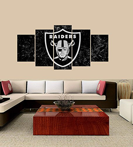 PEACOCK JEWELS [Large] Premium Quality Canvas Printed Wall Art Poster 5 Pieces / 5 Pannel Wall Decor Oakland Raiders Sports Team Logo Painting, Home Decor Pictures - Stretched