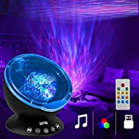 K KBAYBO Ocean Wave Projector 12 LED &7 Colors Night Light Projector with Built-in Mini Music Player Remote Control for...