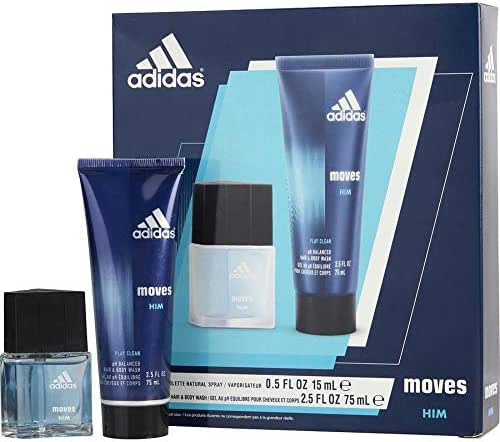 Adidas Fragrance Moves for Him Christmas 2 Piece Gift Set (0.5 Ounce Eau De Toilette Plus 2.5 Ounce Hair and Body Wash)