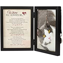 Where I'll Always Be Cat Memorial 5x7 Picture Frame with Pet Tag