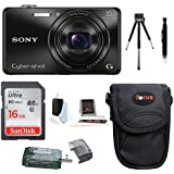 Sony Cyber-shot DSC-WX220 DSCWX220/B Digital Camera (Black) with 16GB Accessory Bundle