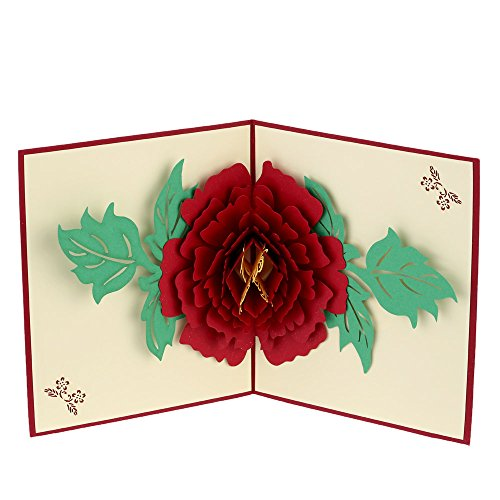 Red Handmade 3D Pop Up Birthday Christmas Card Folding Kirigami Greeting Postcard for Valentine's Day Anniversary with ()