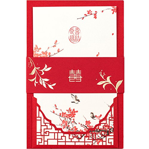 KLN_Dress 50Pcs Chinese Style Traditional Wedding Party Invitations Cards Set for Marriage Engagement Bridal Shower (Blank Inside Page, Red)