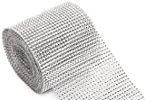 Silver Diamond Rhinestone Ribbon Wrap Bulk DIY Bling 30 Feet - Birthday/ Bridal Shower/Wedding Cake Vase Decorations, Party Supplies